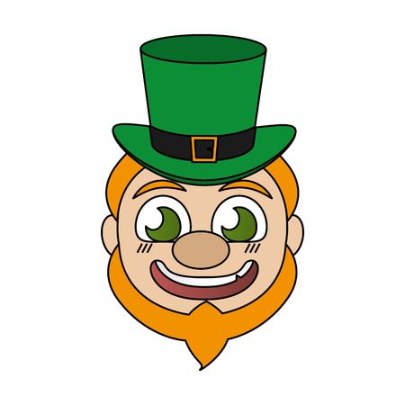 leprechaun face with hat st patricks day vector illustration