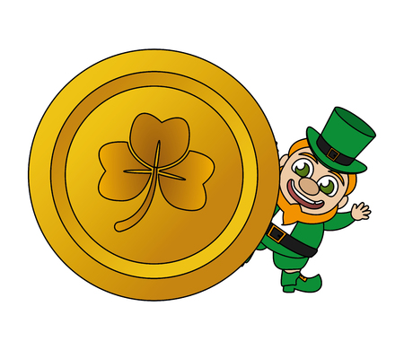 leprechaun gold coin happy st patricks day vector illustration