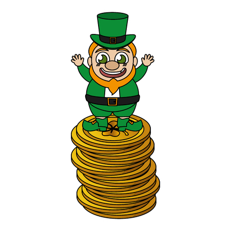 leprechaun on pile coins happy st patricks day vector illustration Ilustracja