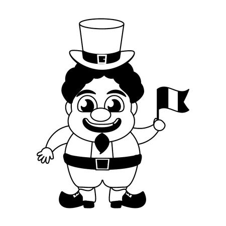 Leprechaun With Irish Flag Happy St Patricks Day Vector Illustration