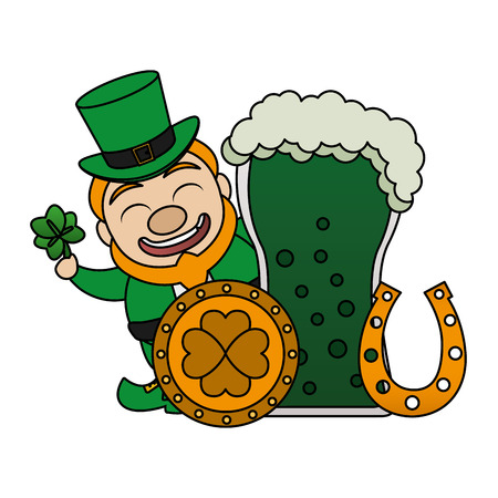 leprechaun beer coin horseshoe happy st patricks day vector illustration
