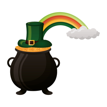 pot coins hat and rainbow happy st patricks day vector illustration