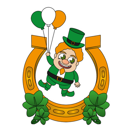 leprechaun with horseshoe balloons and clovers st patricks day vector illustration Foto de archivo - 125835726