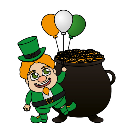 leprechaun with pot and balloons st patricks day vector illustration