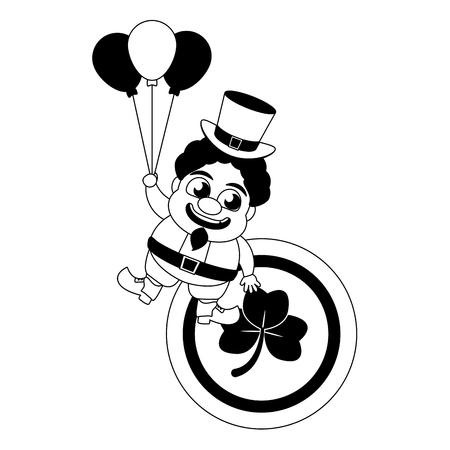 leprechaun with coin and balloons happy st patricks day vector illustration Foto de archivo - 125835744