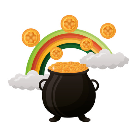 pot with coins and rainbow happy st patricks day vector illustration
