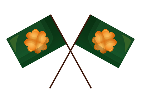 two flag with clovers happy st patricks day vector illustration