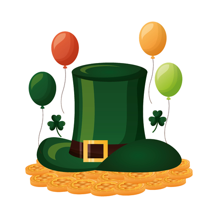 green hat coins balloons clovers happy st patricks day vector illustration Ilustracja