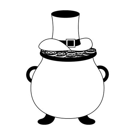 pot with money hat happy st patricks day vector illustration