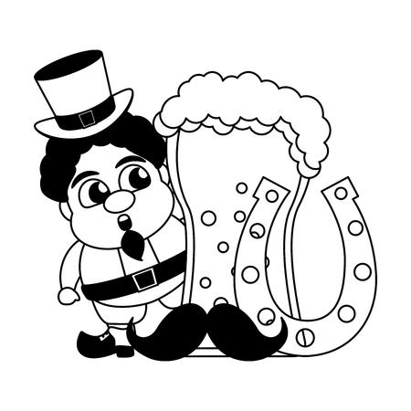 leprechaun beer horseshoe mustache happy st patricks day vector illustration Çizim