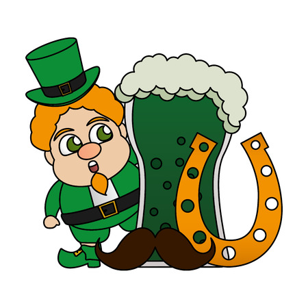 leprechaun beer horseshoe mustache happy st patricks day vector illustration 일러스트