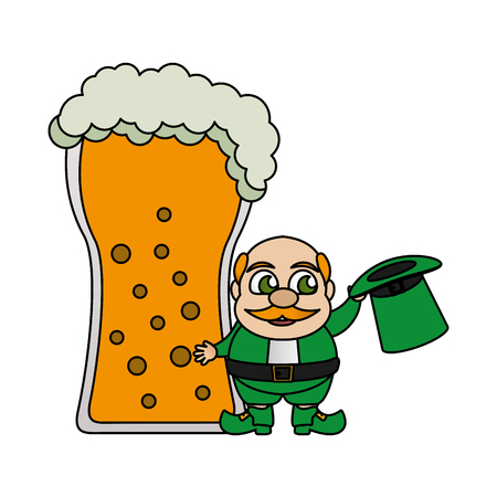 leprechaun with hat and beer happy st patricks day vector illustration Ilustracja