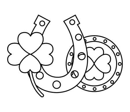 coin horseshoe and clover happy st patricks day vector illustration 版權商用圖片 - 116015034