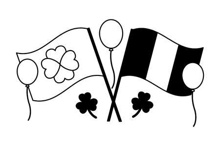 irish flag balloons clover happy st patricks day vector illustration