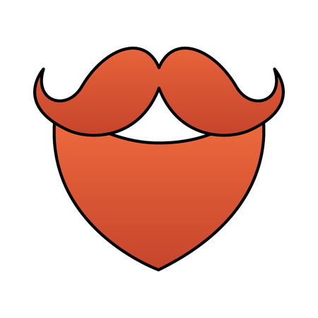 red beard and mustache on white background
