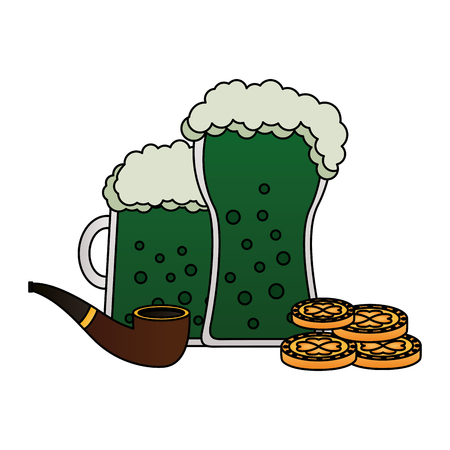 two green beers pipe and coins happy st patricks day vector illustration