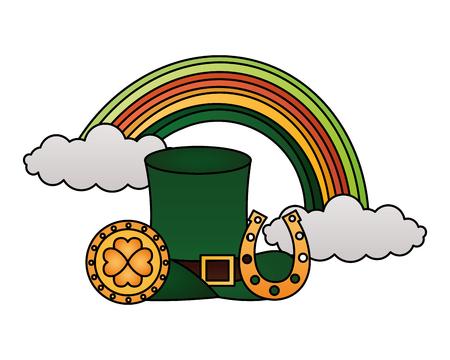 Grüner Hut Regenbogenmünze und Hufeisen Happy St Patricks Day Vector Illustration