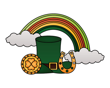 green hat rainbow coin and horseshoe happy st patricks day vector illustration