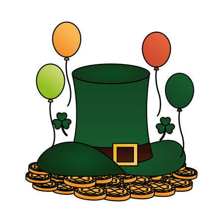 green hat coins balloons clovers happy st patricks day vector illustration Иллюстрация