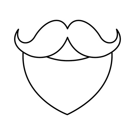 beard and mustache on white background vector illustration
