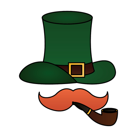 green hat moustache and pipe happy st patricks day vector illustration Foto de archivo - 116015058