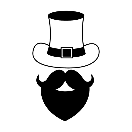 hat and beard mustache happy st patricks day vector illustration