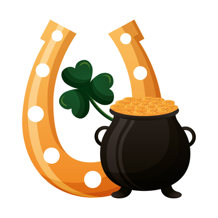 pot coins clover and horseshoe happy st patricks day vector illustration