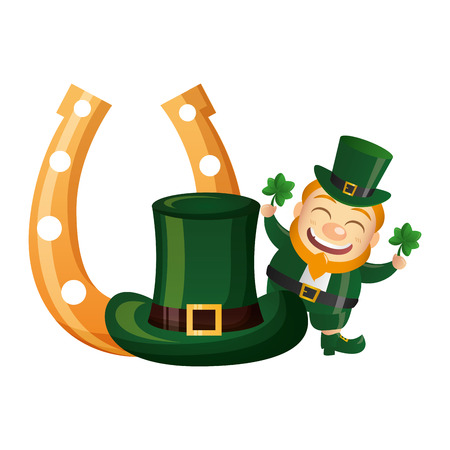 leprechaun with hat horseshoe clovers happy st patricks day vector illustration