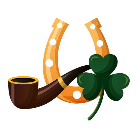 horseshoe clover and pipe happy st patricks day vector illustration Archivio Fotografico - 125835847