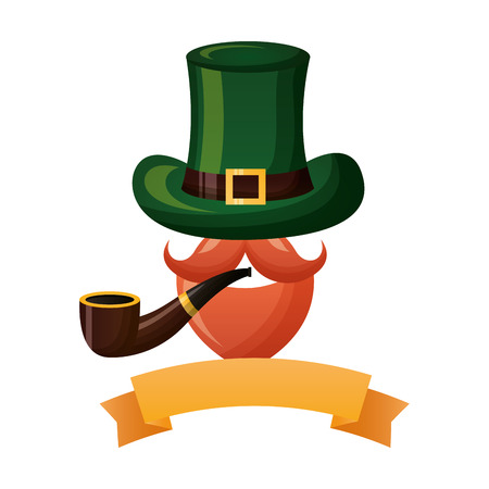 mustache hat and pipe happy st patricks day vector illustration