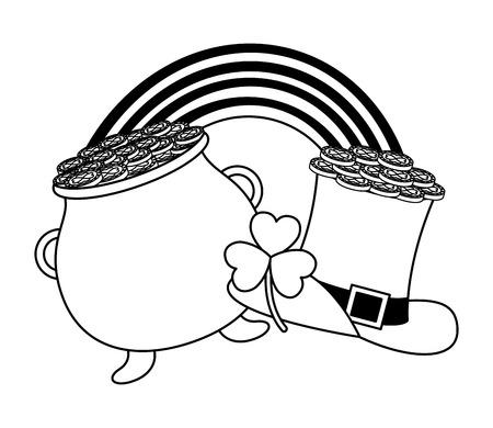 pot rainbow hat and clover happy st patricks day vector illustration Archivio Fotografico - 125835864