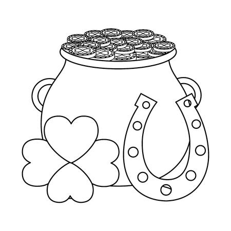 cauldron horseshoe clover happy st patricks day vector illustration