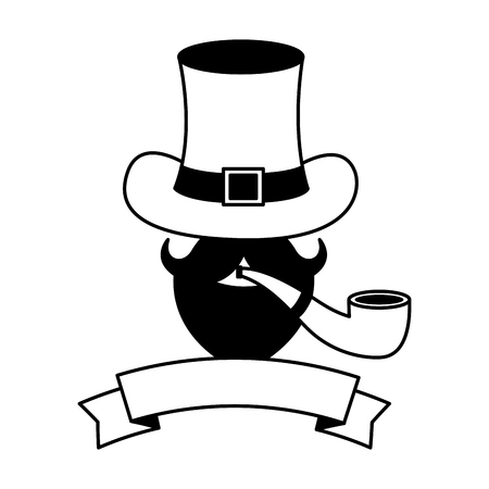 mustache hat and pipe happy st patricks day vector illustration Illustration