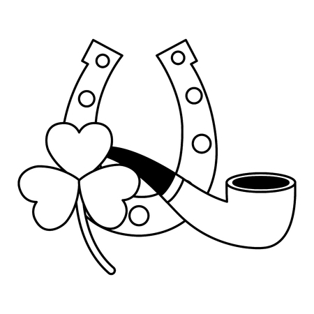 horseshoe clover and pipe happy st patricks day vector illustration 向量圖像