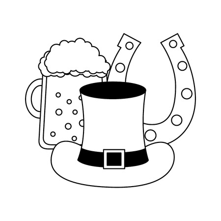 beer hat and horseshoe happy st patricks day vector illustration 일러스트