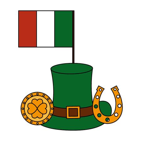 irish flag coin horseshoe hat happy st patricks day vector illustration 일러스트