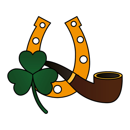 horseshoe clover and pipe happy st patricks day vector illustration Archivio Fotografico - 125835891