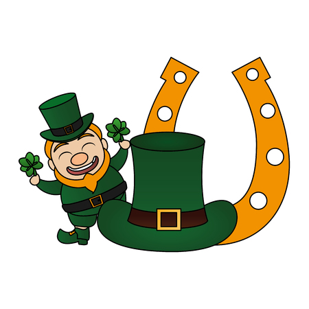 leprechaun with hat horseshoe clovers happy st patricks day vector illustration