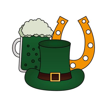 beer hat and horseshoe happy st patricks day vector illustration Çizim