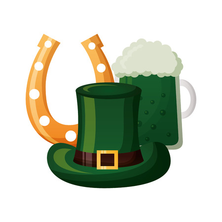 beer hat and horseshoe happy st patricks day vector illustration 版權商用圖片 - 125835909
