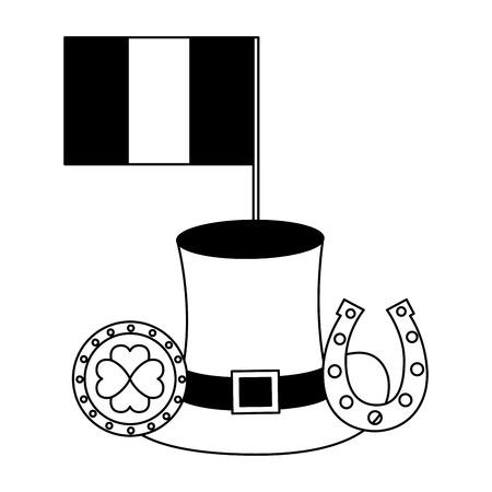 irish flag coin horseshoe hat happy st patricks day vector illustration Çizim