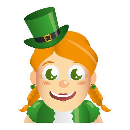 leprechaun girl face on white background vector illustration