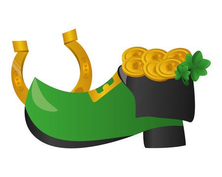 shoe coins horseshoe happy st patricks day vector illustration Foto de archivo - 125835934