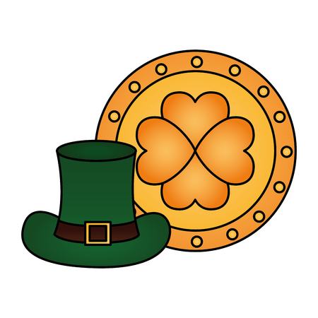 gold coin and hat happy st patricks day vector illustration