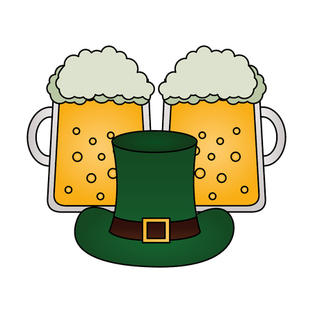 green hat and beers happy st patricks day vector illustration