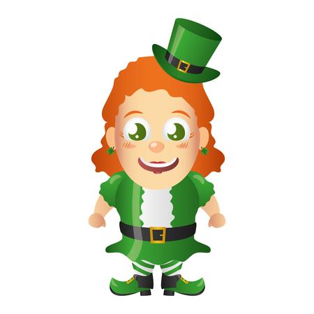leprechaun girl happy st patricks day vector illustration