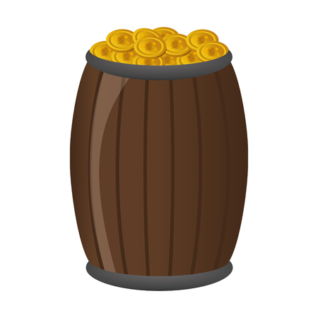 wooden barrel with coins happy st patricks day vector illustration Stock fotó - 125835958