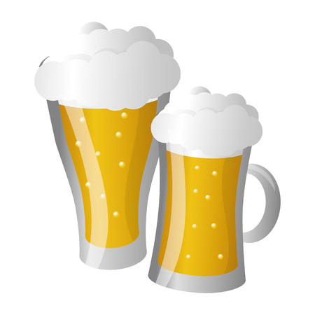 glass beers alcohol on white background vector illustration  イラスト・ベクター素材