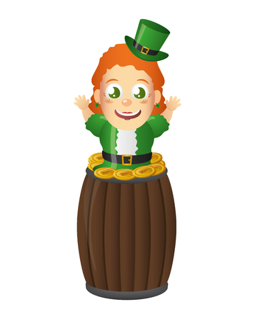 leprechaun girl with barrel coins happy st patricks day vector illustration