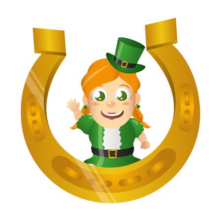 leprechaun girl with horseshoe happy st patricks day vector illustration